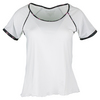DENISE CRONWALL Women`s Villia Cap Sleeve Tennis Top White