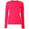 SOFIBELLA Women`s Crewneck Long Sleeve Tennis Top Red Lotus