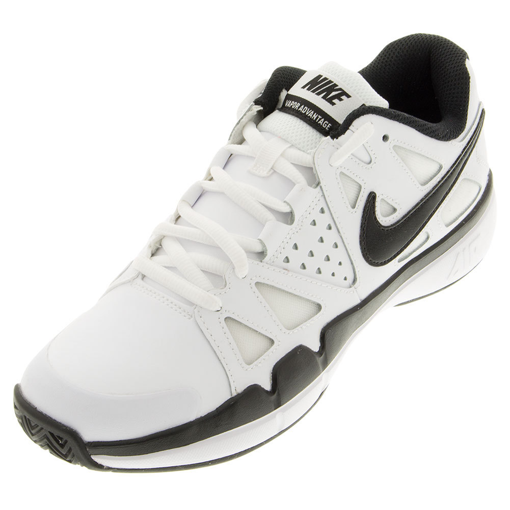Men's Air Vapor Advantage Leather Tennis Shoes White And Dark Gray