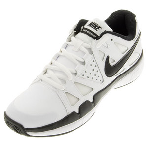 Juniors` Air Vapor Advantage Leather Tennis Shoes White and Dark Gray