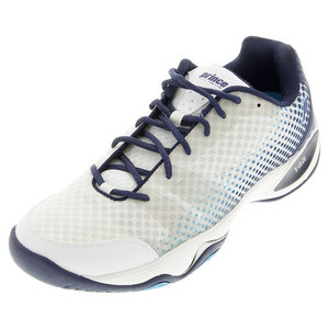 Men`s T22 Lite Hard Court Tennis Shoes White and Navy