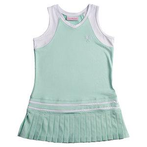 LITTLE MISS TENNIS GIRLS TNS DRESS PEPPERMENT W/WTH TRIM
