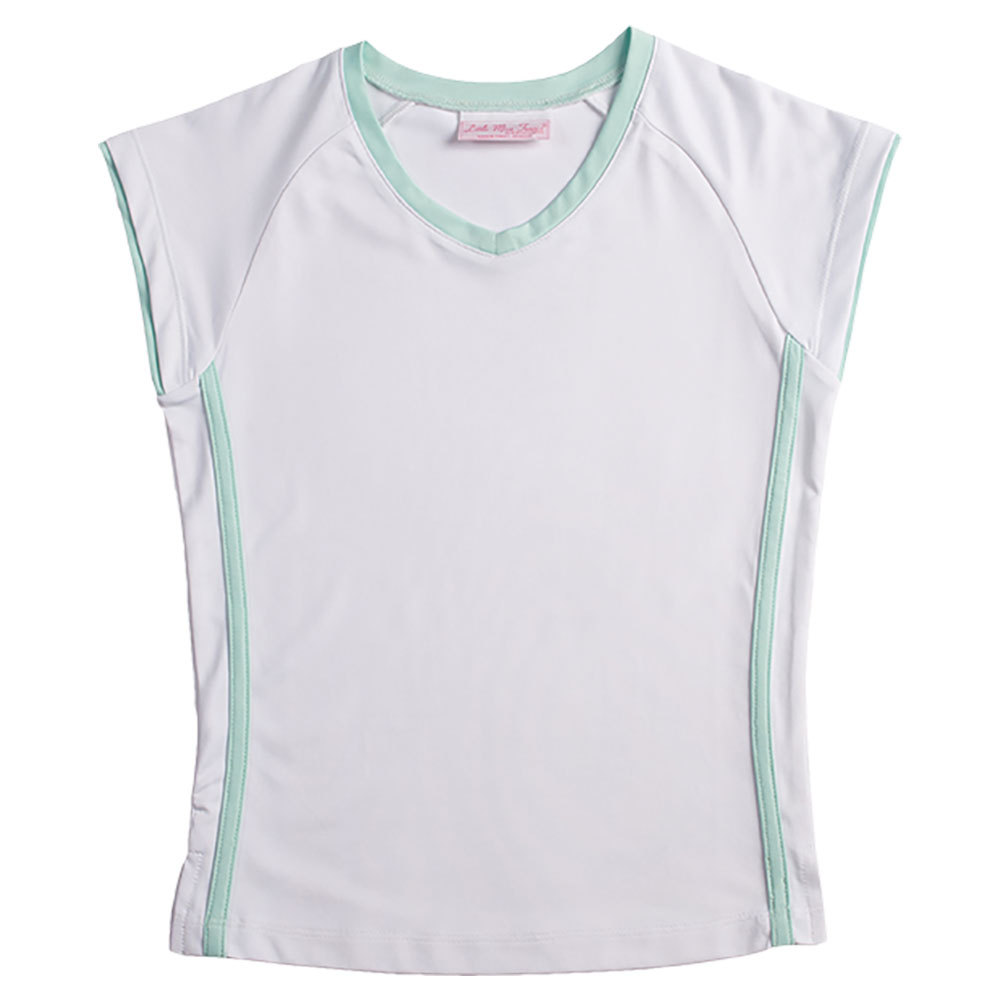 Girls ` Cap Sleeve Tennis Top White With Peppermint Trim