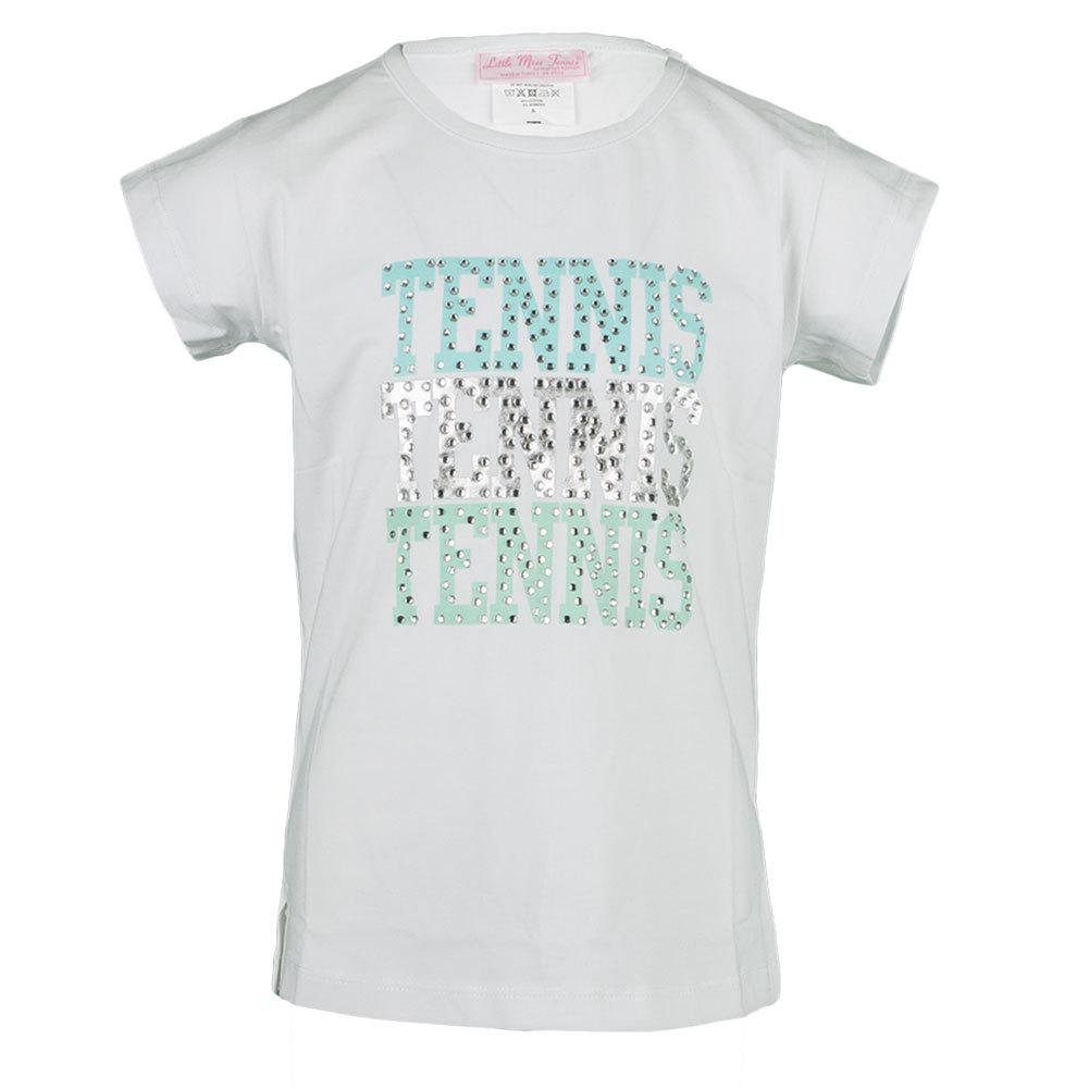Girls ` Rhinestone Tennis Tee White