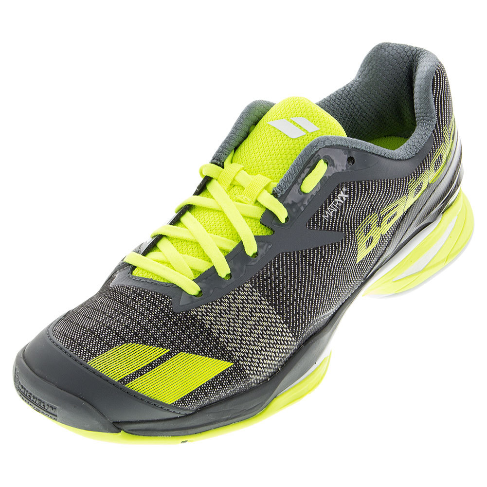 Men's Jet All Court Tennis Shoes Gray And Yellow