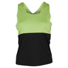 BOLLE Women`s Twist of Lime Tennis Tank Black and Lime