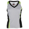 BOLLE Women`s Twist of Lime Tennis Tank White and Black
