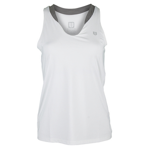 Women`s Love Tennis Tank White and Frost Gray