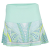 LUCKY IN LOVE Women`s Long Retro Wave Tennis Skirt Seafoam Print