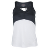 Women`s Serpentine Racerback Tennis Tank White and Graphite by BOLLE