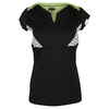 BOLLE Women`s Twist of Lime Cap Sleeve Tennis Top Black