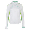 LUCKY IN LOVE Women`s Long Sleeve Mock 1/4 Zip Tennis Top White and Seafoam