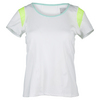 LUCKY IN LOVE Women`s Scoop Neck Tennis Cap Sleeve Top White