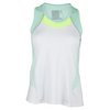 LUCKY IN LOVE Women`s Colorblock Racerback Tennis Tank White and Seafoam