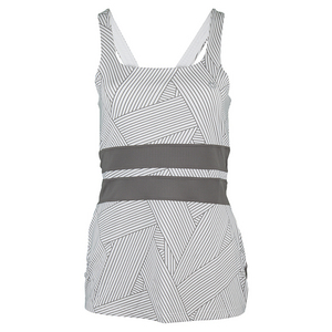 Women`s Excel Tennis Tank Strike Print and Frost Gray