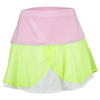 LUCKY IN LOVE Girls` Mesh Flounce Tennis Skort Neon Yellow and Light Pink
