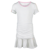 LUCKY IN LOVE Girls` Draped Short Sleeve Tennis Dress White