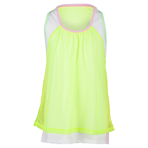 Girls` Mesh Crop Tennis Top Neon Yellow