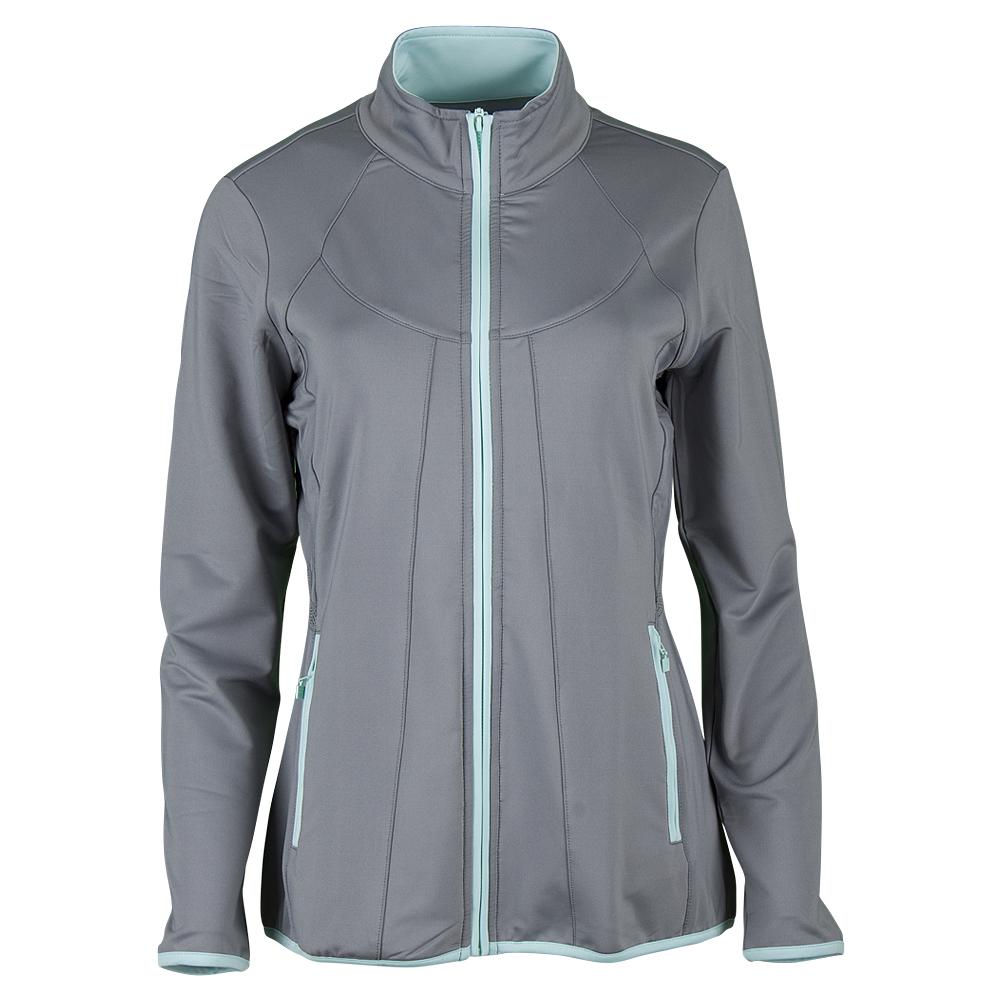 Women's Net Set Tennis Jacket Light Gray And Aqua