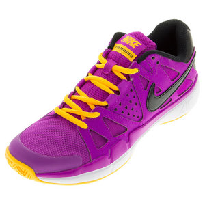 Women`s Air Vapor Advantage Tennis Shoes Hyper Violet and Laser Orange