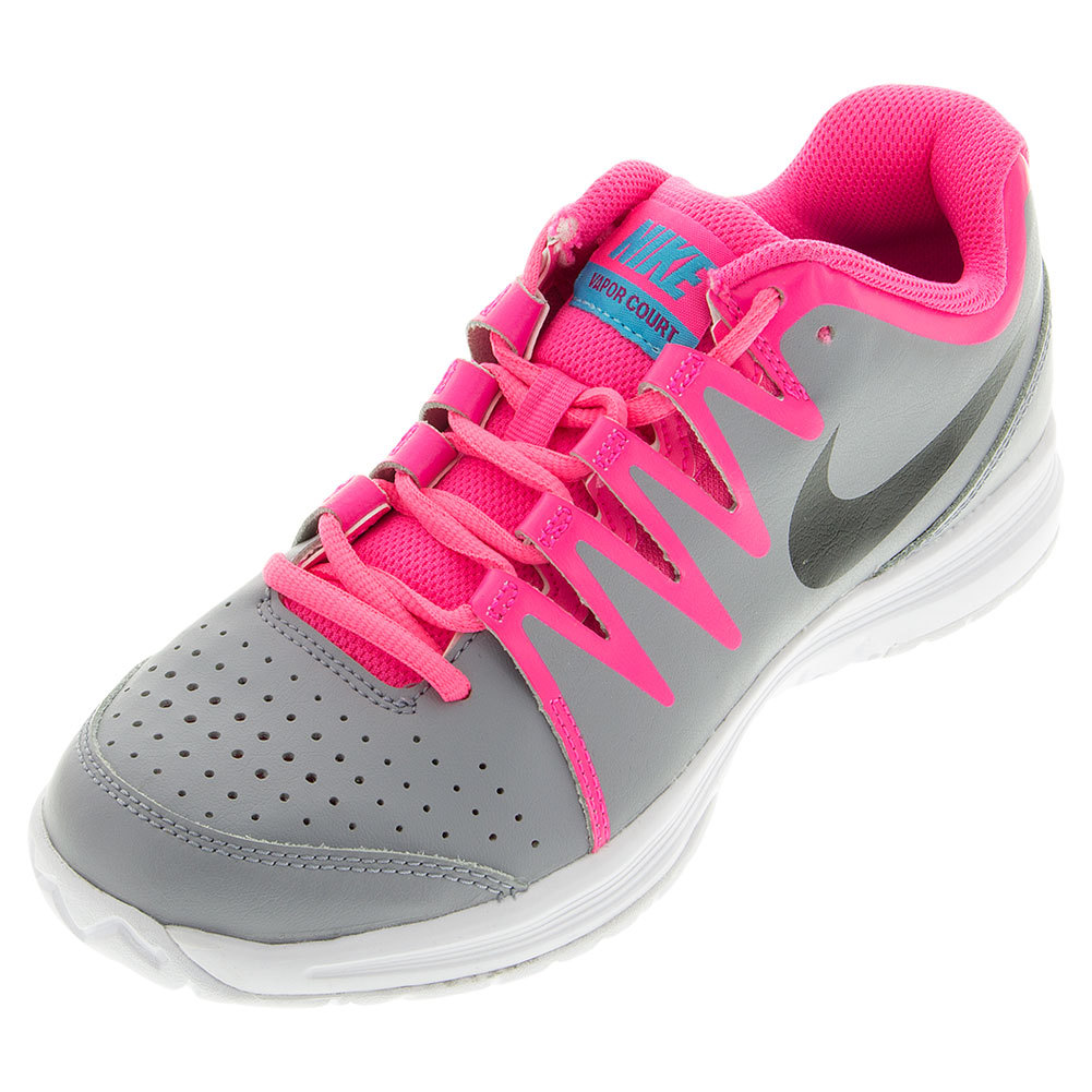 Women's Vapor Court Tennis Shoes Stealth And Hyper Pink