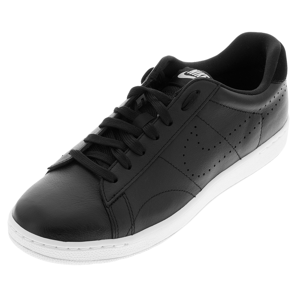 Mens ` Classic Ultra Leather Tennis Shoes Black And White