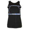 Women`s First Lap Tennis Tank Black and Print by LIJA