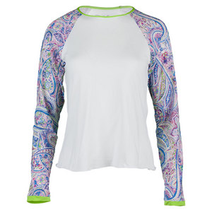 DENISE CRONWALL WOMENS NEO LONG SLV TENNIS TOP WHITE