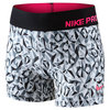 NIKE Girls` Pro Cool Allover Print Short Cool Gray and Black