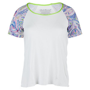 DENISE CRONWALL WOMENS NEO CAP SLEEVE TNS TOP WHITE