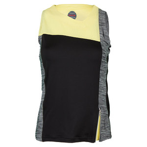 Women`s Mélange Tennis Tank Black and Yellow