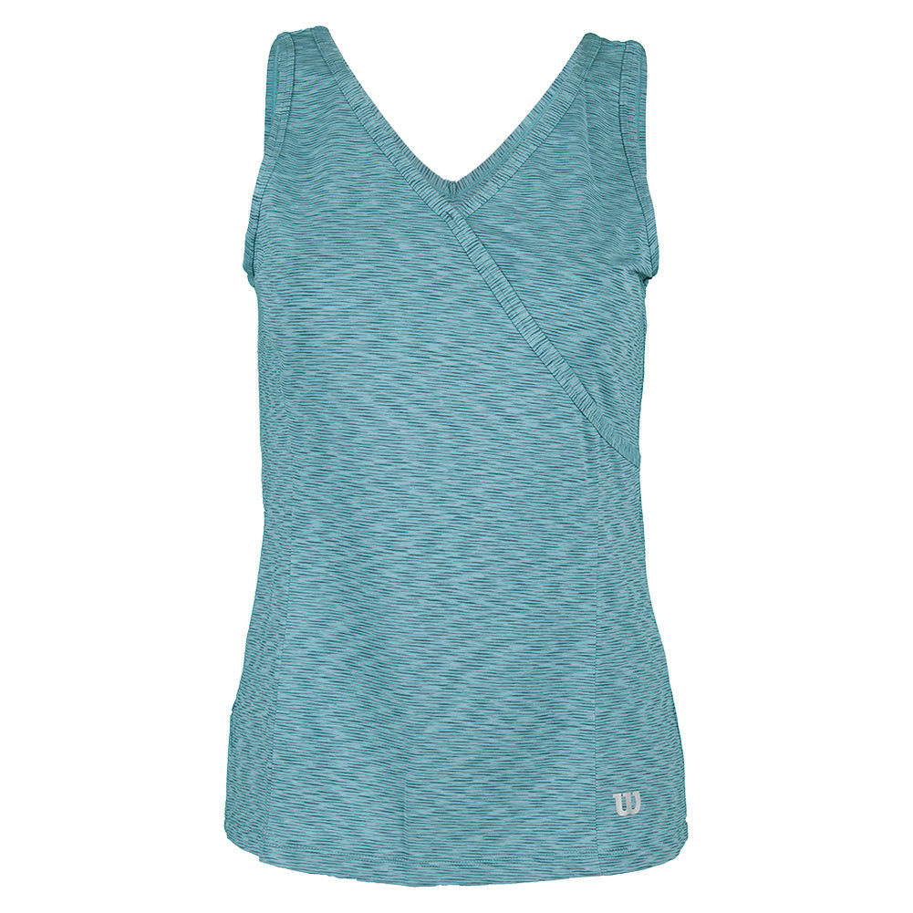 Women's Striated Wrap Tennis Tank Blue Mirage