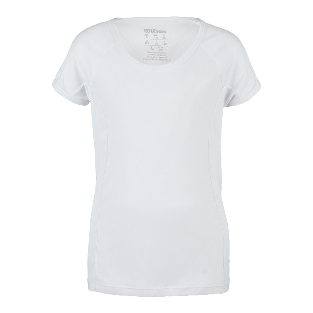 Girls ` Nvision Elite Cap Sleeve Tennis Top White