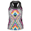 LUCKY IN LOVE Women`s Neo Geo Racerback Tennis Tank Print