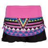 LUCKY IN LOVE Women`s Neo Rouched Tier Tennis Skort Print