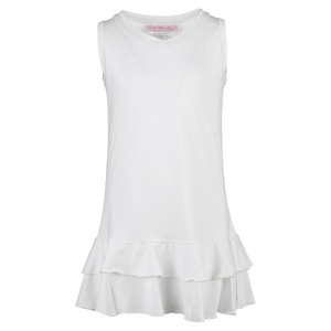 Girls` Pleated Tennis Dress White