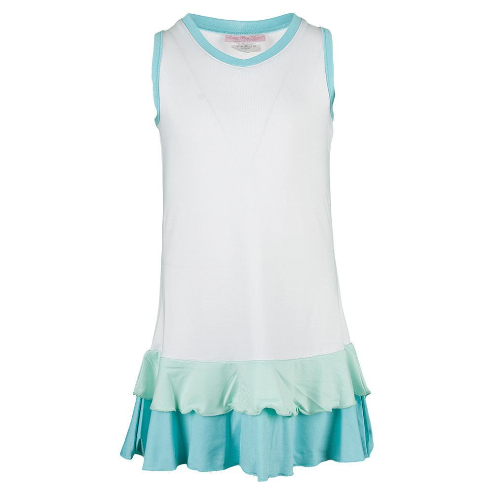 Girls ` Pleated Tennis Dress White And Blue