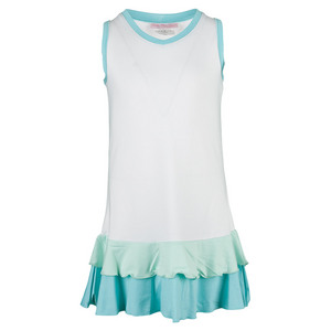 Girls` Pleated Tennis Dress White and Blue