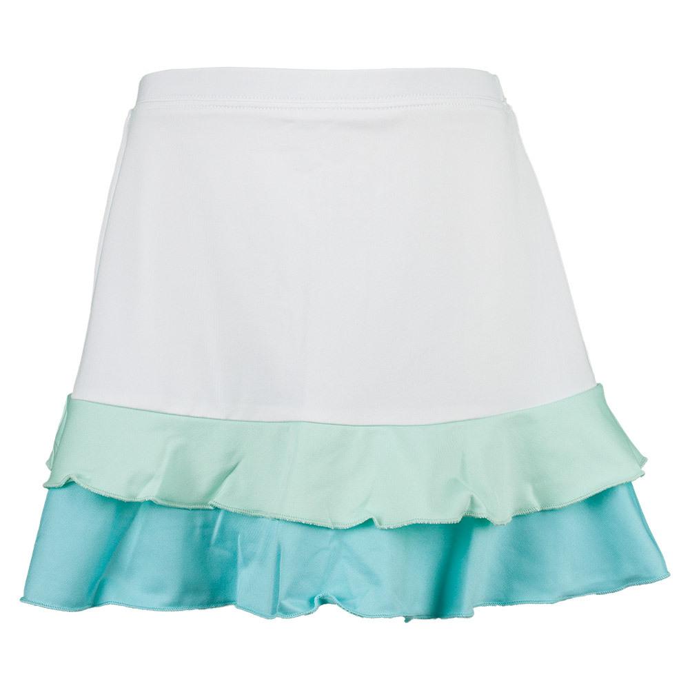 Girls ` Pleated Tennis Skort White And Blue