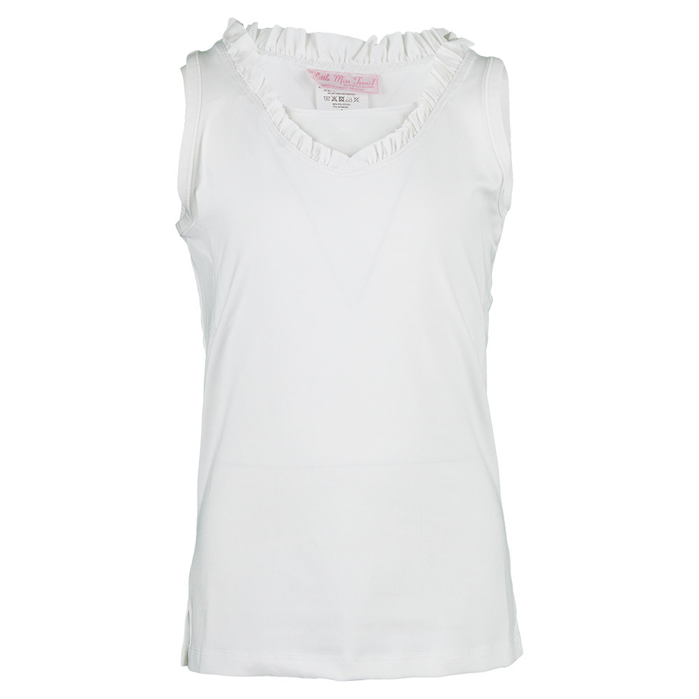 Girls ` Ruffle Tennis Tank White