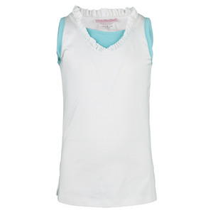 Girls` Ruffle Tennis Tank White with Blue Trim
