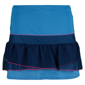 Women`s Long Mesh Rouched Tier Tennis Skort Azure