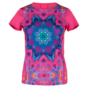 LUCKY IN LOVE WOMENS SUNSATION TNS TEE SHOCK PINK