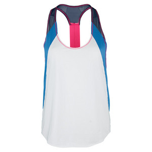 Women`s Colorblock Singlet Tennis Tank White and Azure