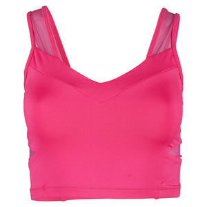 LUCKY IN LOVE WOMENS CROP TENNIS BRALETTE SHOCK PINK