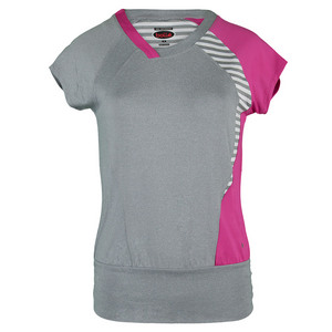 BOLLE WOMENS IN THE PINK CAP SLV TNS TOP GY/PK