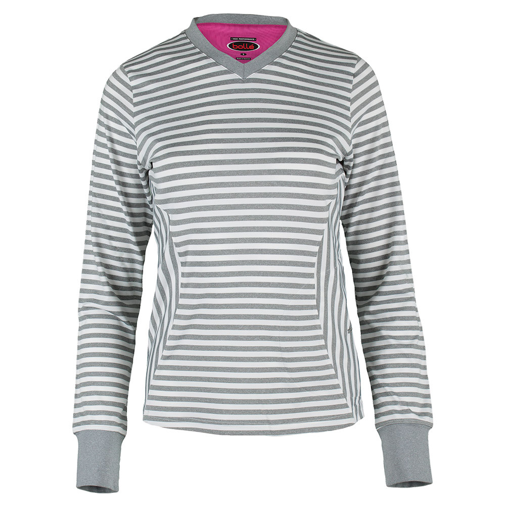 Women's In The Pink Long Sleeve Tennis Top Gray Heather And Electric Pink
