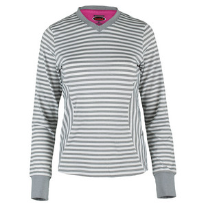 BOLLE WOMENS IN THE PINK LONG SLV TNS TOP GY/W