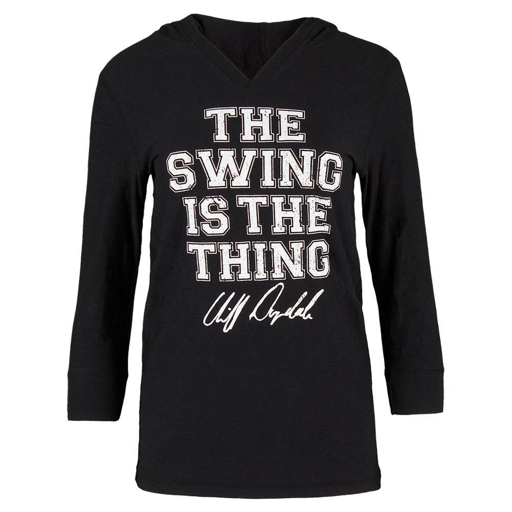 Women's Swing Is The Thing Tennis Hoodie Black Burnout