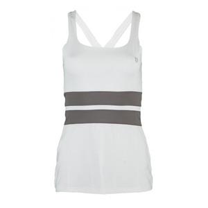 Women`s Excel Tennis Tank White and Frost Gray
